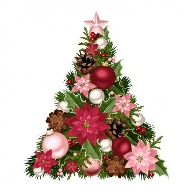 Christmas tree with red and pink decorations. Vector illustration.