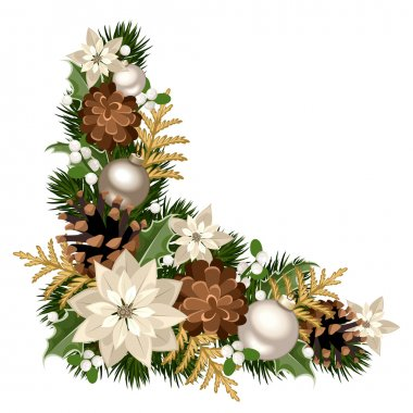Vector Christmas decorative corner with fir branches, silver balls, poinsettia flowers, cones, holly and mistletoe.