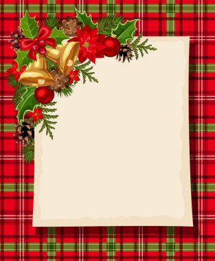 Christmas card with bells, holly, cones, balls, poinsettia and tartan. Vector eps-10.