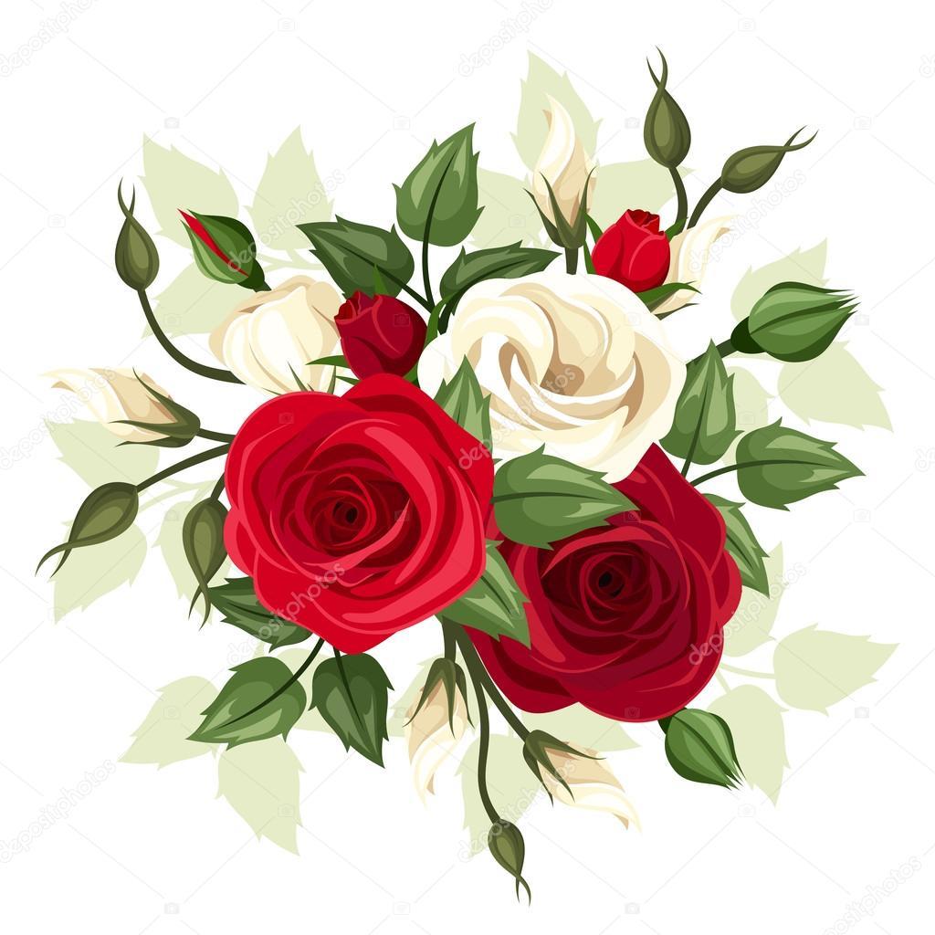 Flores Rojas Y Blancas Rosas Y Lisianthus Ilustracion De Vector