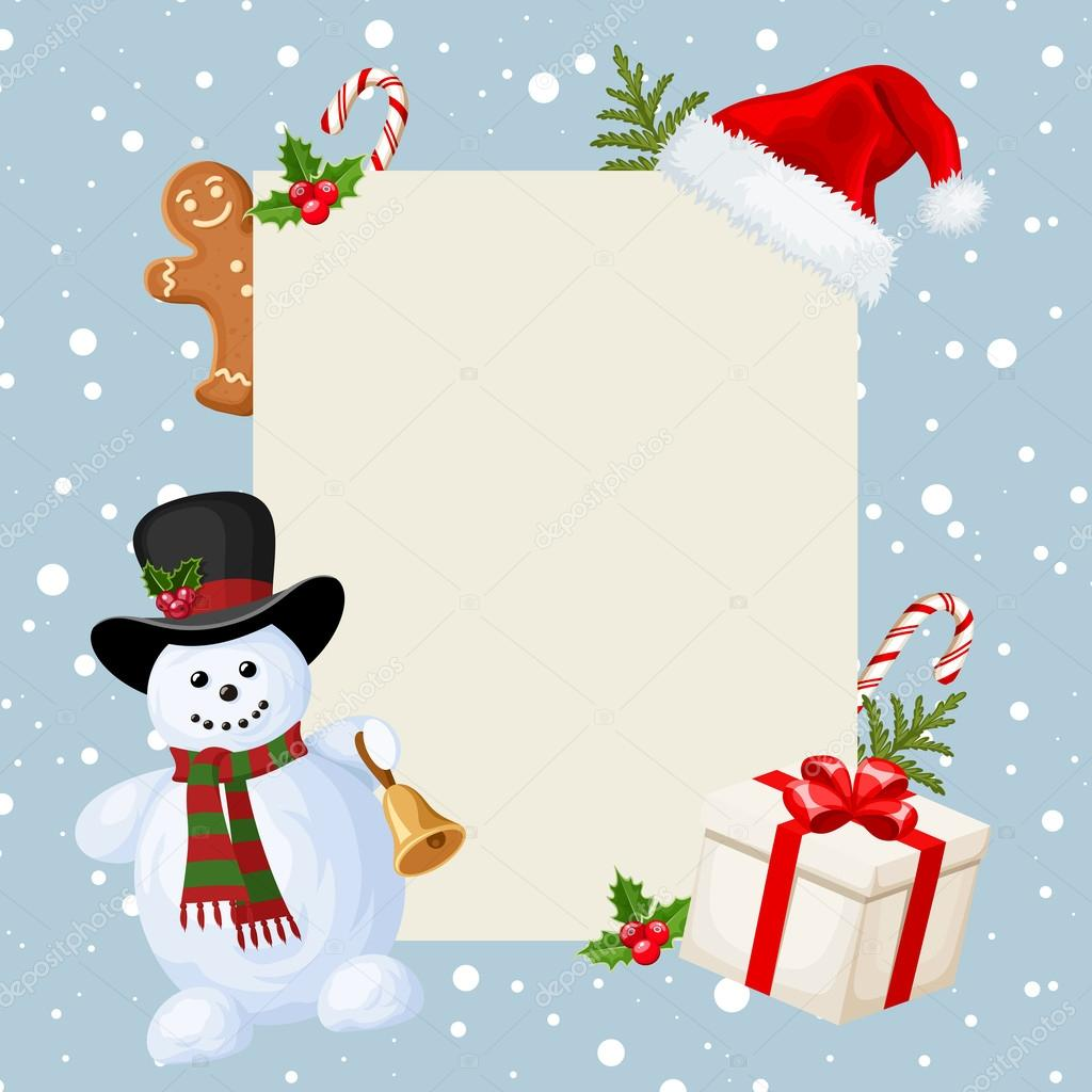 Christmas Card With Snowman, Decorations And Falling Snow