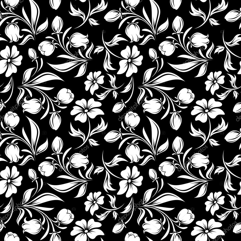 Dikisiz siyah beyaz iek desenli vektr izim stok vektr vector seamless pattern with white flowers and leaves on black naddya vektr mightylinksfo