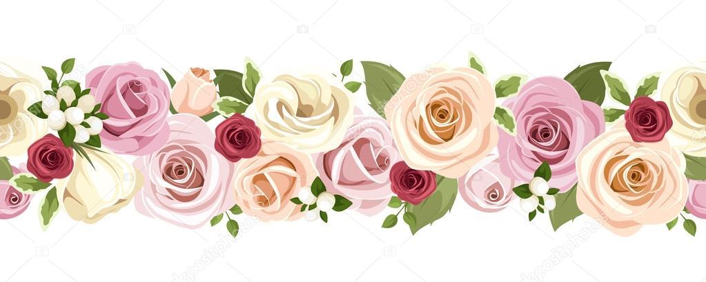 Horizontal fondo transparente con flores de colores rosas