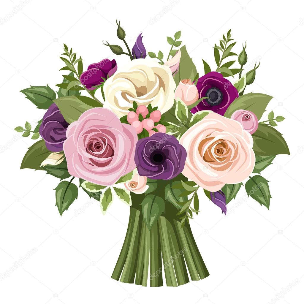 Bouquet of colorful roses and lisianthus flowers. Vector illustration.