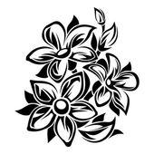 Černé a bílé květiny ornament. Vektorové ilustrace.