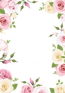 Vector background with pink and white roses, lisianthus flowers and green leaves. stock vector