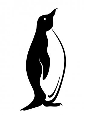 Penguin. Vector black silhouette.