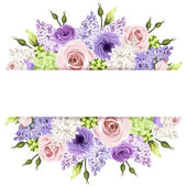Fotografie Background with pink, purple and white roses and lilac flowers. Vector eps-10.