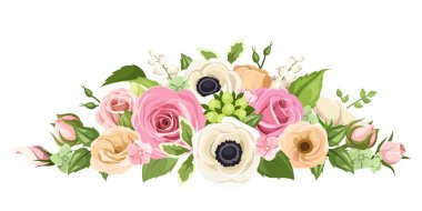 Vector horizontal bouquet of pink, orange and white roses, lisianthus and anemone flowers and green leaves isolated on a white background. stock vector