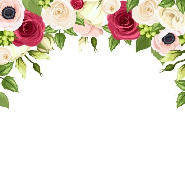 Vector background with red, pink and white roses, lisianthuses and anemone flowers and green leaves on a white background. stock vector
