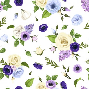 Seamless pattern with blue, purple and white roses, lisianthuses, anemones and lilac flowers. Vector illustration.