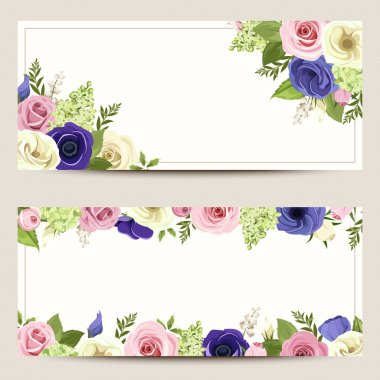 Invitation cards with colorful roses, lisianthuses and anemone flowers.