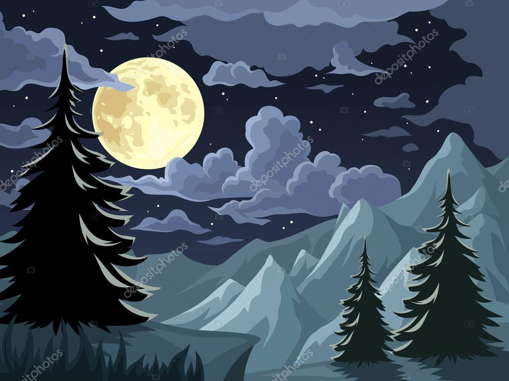 Night landscape with trees, mountains and full moon. Vector illustration.