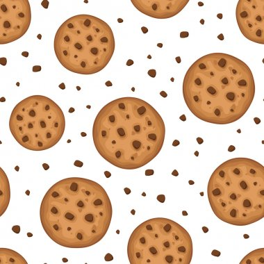 Seamless background with cookies. Vector illustration.