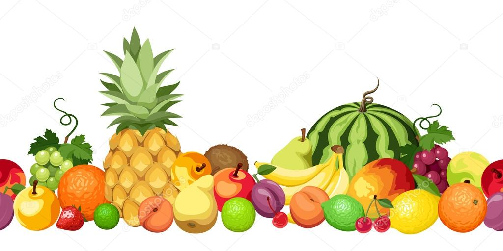 Horizontal seamless background with various fruits. Vector illustration.