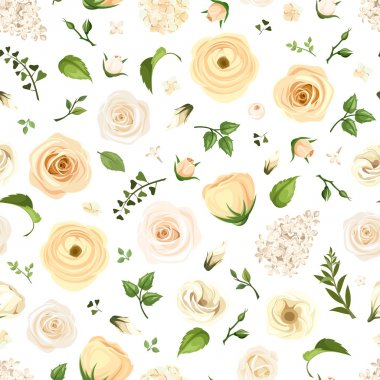 Seamless pattern with white flowers and green leaves. Vector illustration.