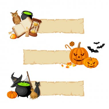 Halloween magic web banners. Vector eps-10.