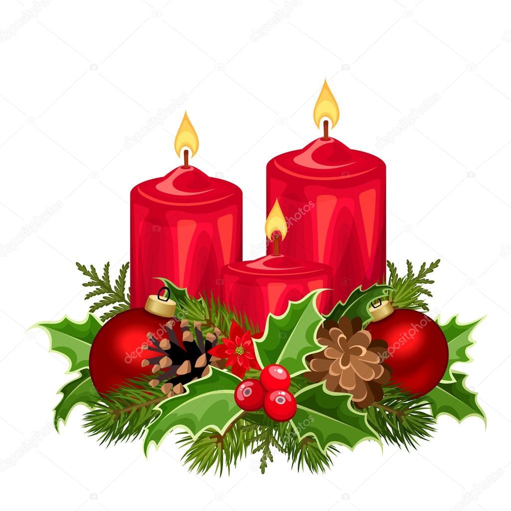 Vector Velas Navidad Velas De Navidad Roja Ilustracion De Vector - Velas-de-navidad