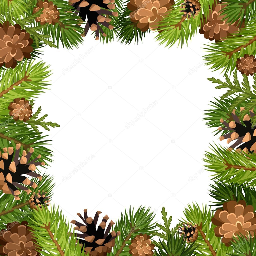 Vector frame with fir tree branches and cones.