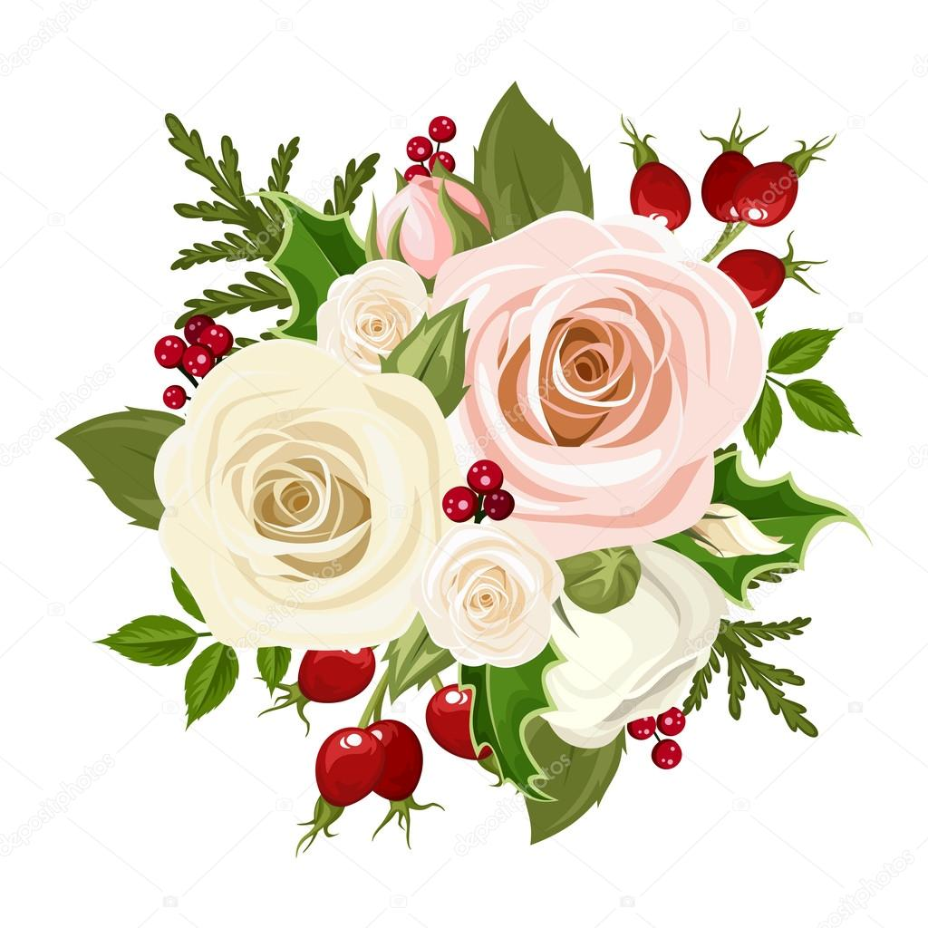 Bouquet De Noel Avec Du Houx christmas bouquet with pink and white roses, rosehip, holly