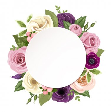 Vector circle background with pink, purple, orange and white roses, lisianthus and anemone flowers and green leaves. stock vector