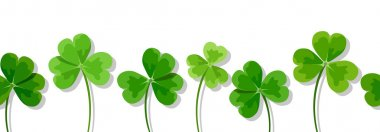 St. Patrick's day horizontal seamless background with clovers (shamrock). Vector illustration.