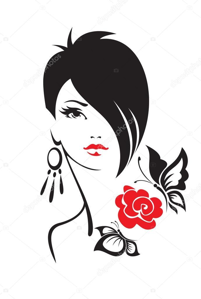 Ilustración blanco y negro de mujer elegante — Archivo Imágenes Vectoriales