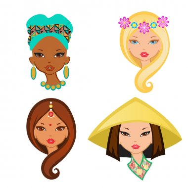 Four isolated portrait of little girls from different ethnic gro