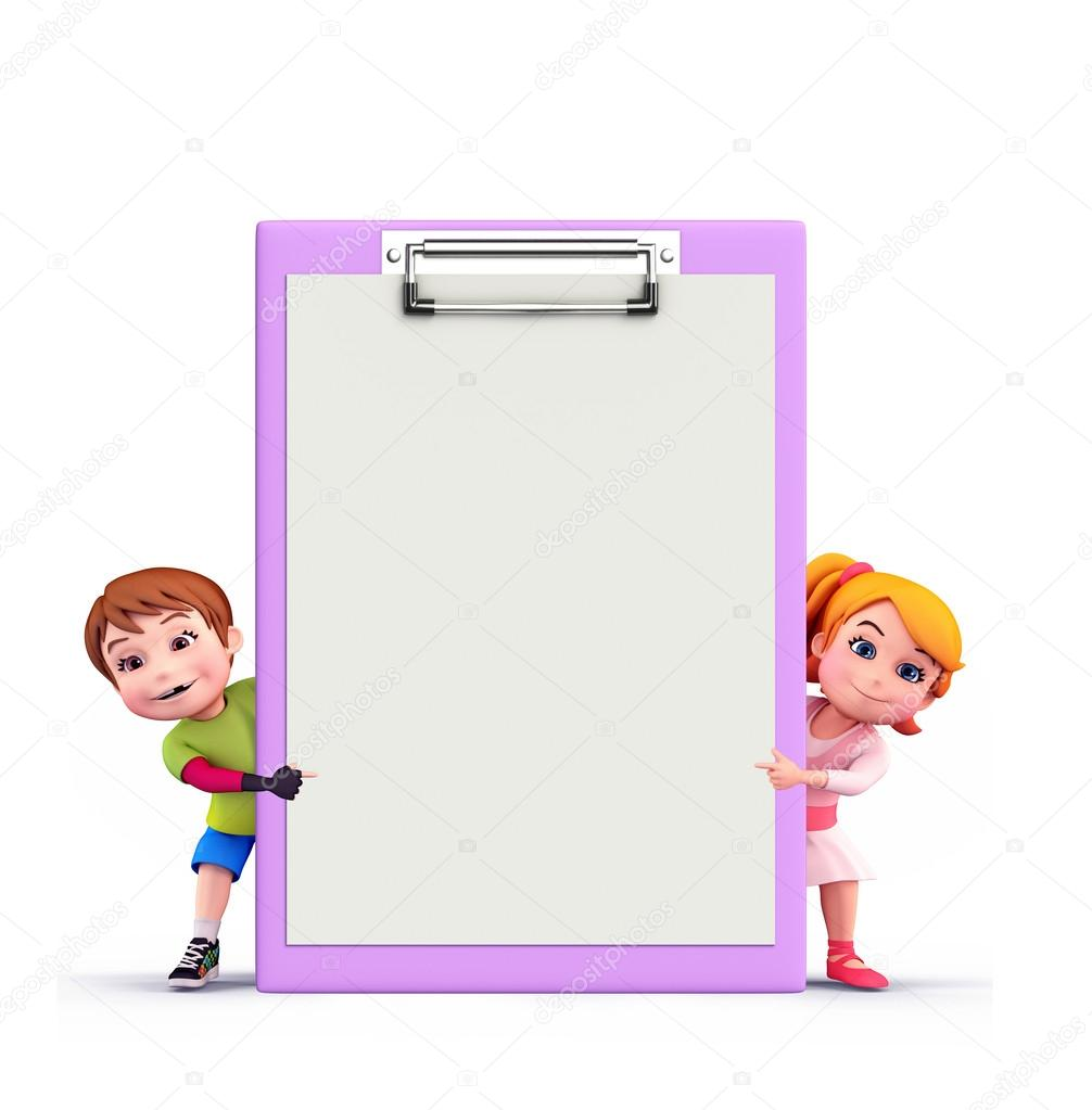 Cute kids with notepad