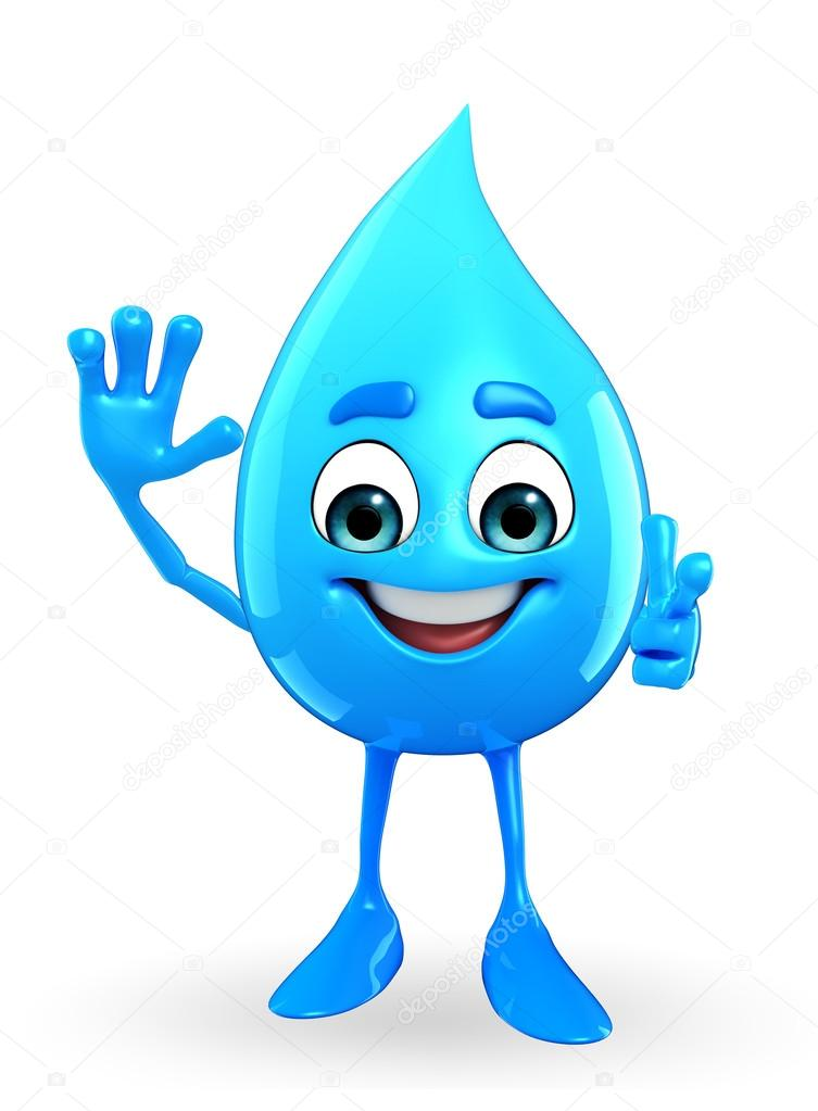 Car cter de gota de agua con pose de hallo foto de stock for Fondos animados de agua