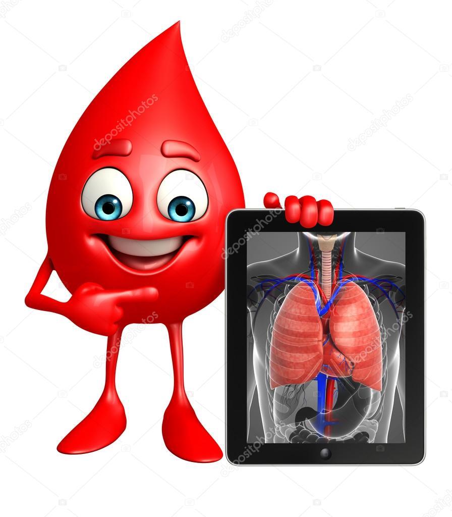 Blood Drop Charakter mit Lunge Anatomie — Stockfoto © pixdesign123 ...