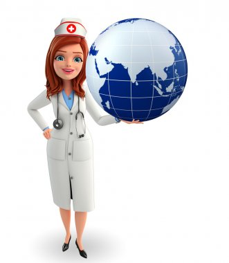 Nurse Character with  earth