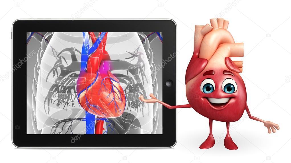 Carácter de corazón con la anatomía del corazón — Foto de stock ...