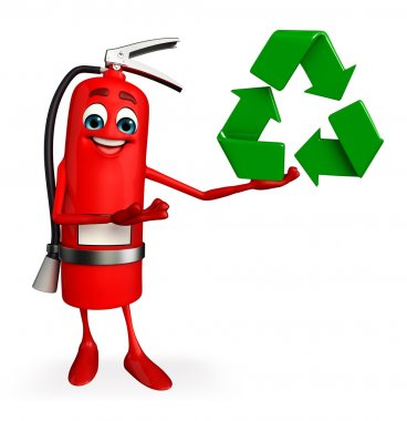 Fire Extinguisher character with recycle icon