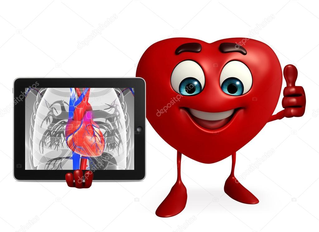 Carácter de forma de corazón con la anatomía del corazón — Foto de ...