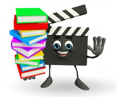 Clapper Board Character with pile of books