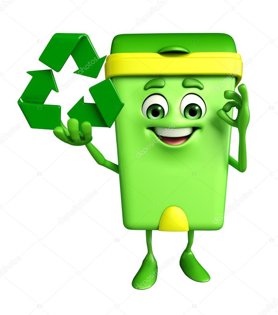 Personagem De Caixote Do Lixo Com Reciclagem Icone Fotografias De