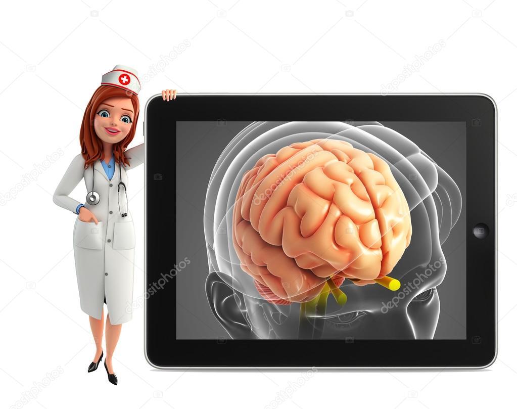 Personaje de la enfermera con la anatomía del cerebro — Fotos de ...