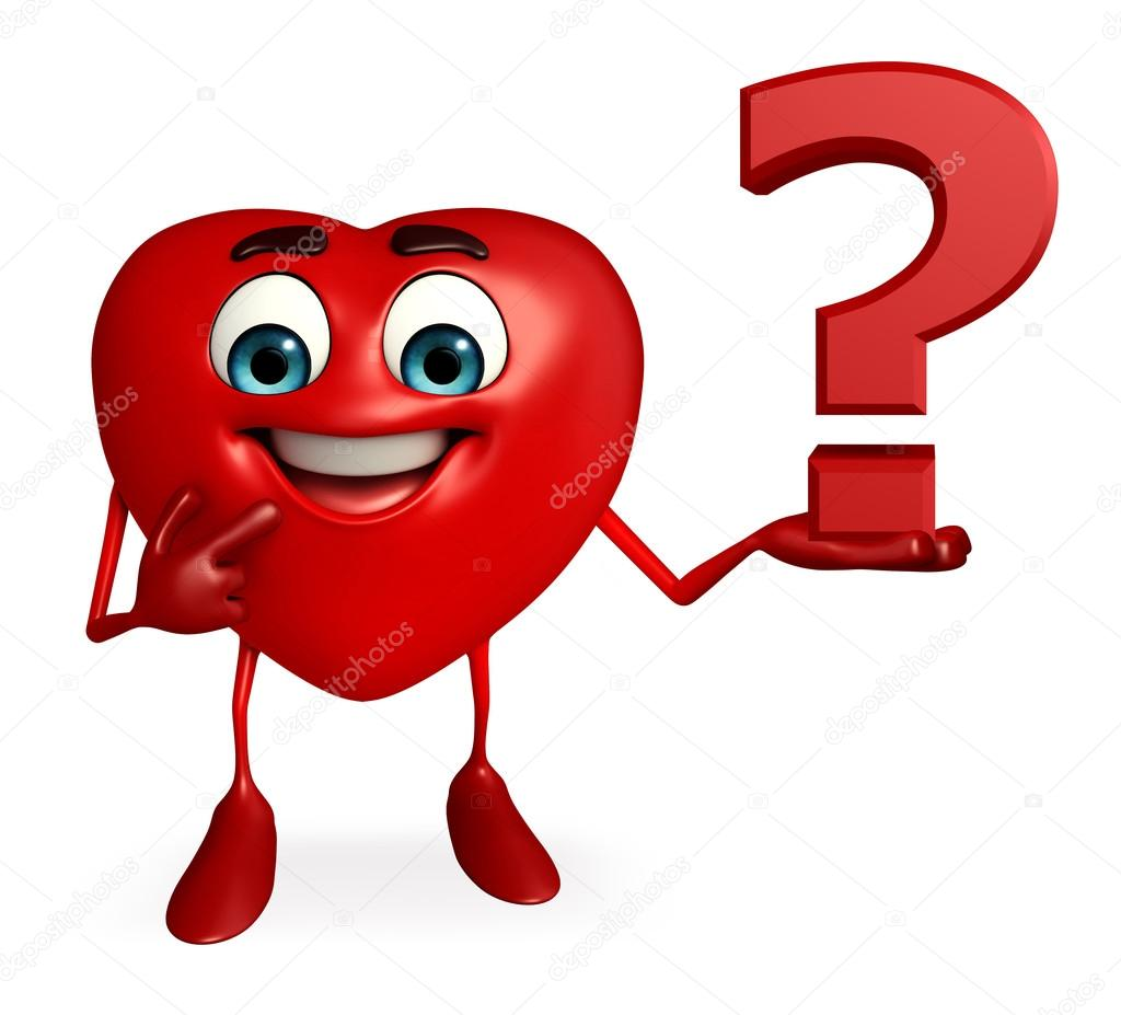 Heart Shape character with question mark — Stock Photo ...