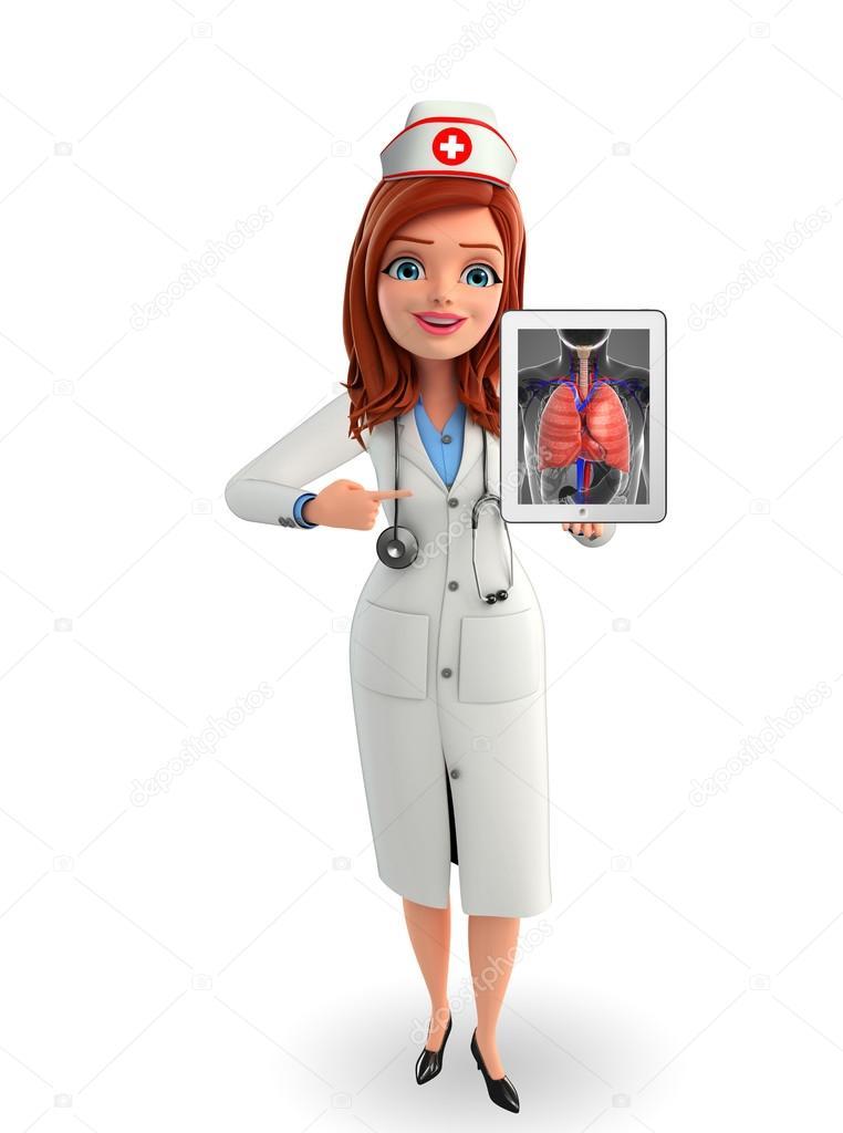Personaje de la enfermera con la anatomía de los pulmones — Fotos de ...