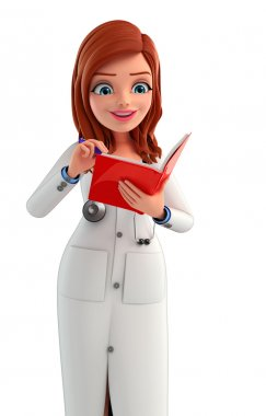 Young Doctor is reading a book
