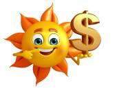 Sun charakter s znak dolaru