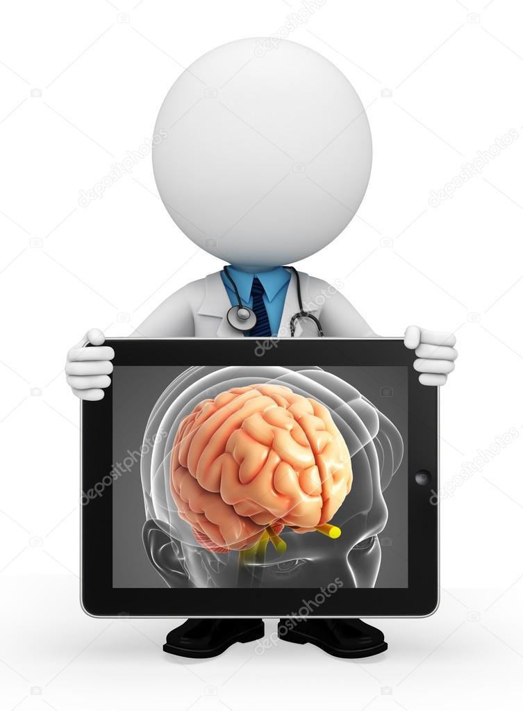 junger Arzt mit Gehirn-Anatomie — Stockfoto © pixdesign123 #55647297