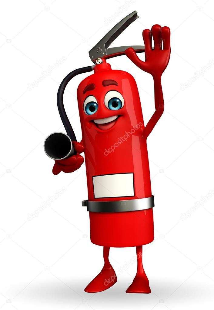 fire extinguisher character with hello pose stock photo rh depositphotos com fire extinguisher art cartoon fire extinguisher sign cartoon