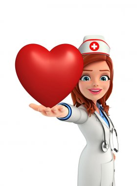 Nurse Character with heart pose