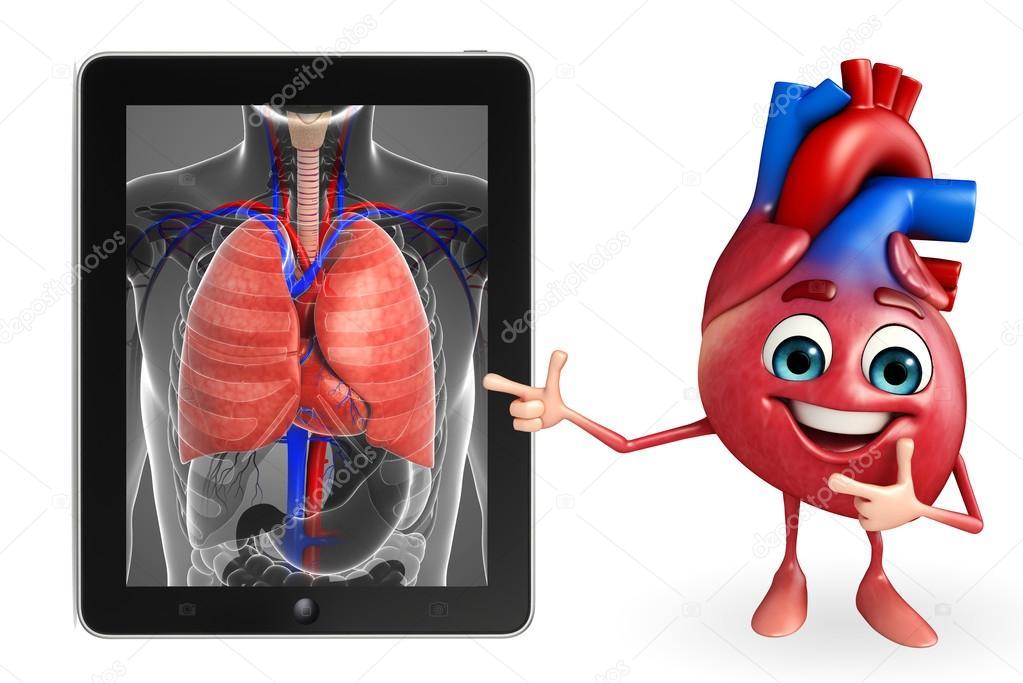Carácter de corazón con la anatomía de los pulmones — Fotos de Stock ...