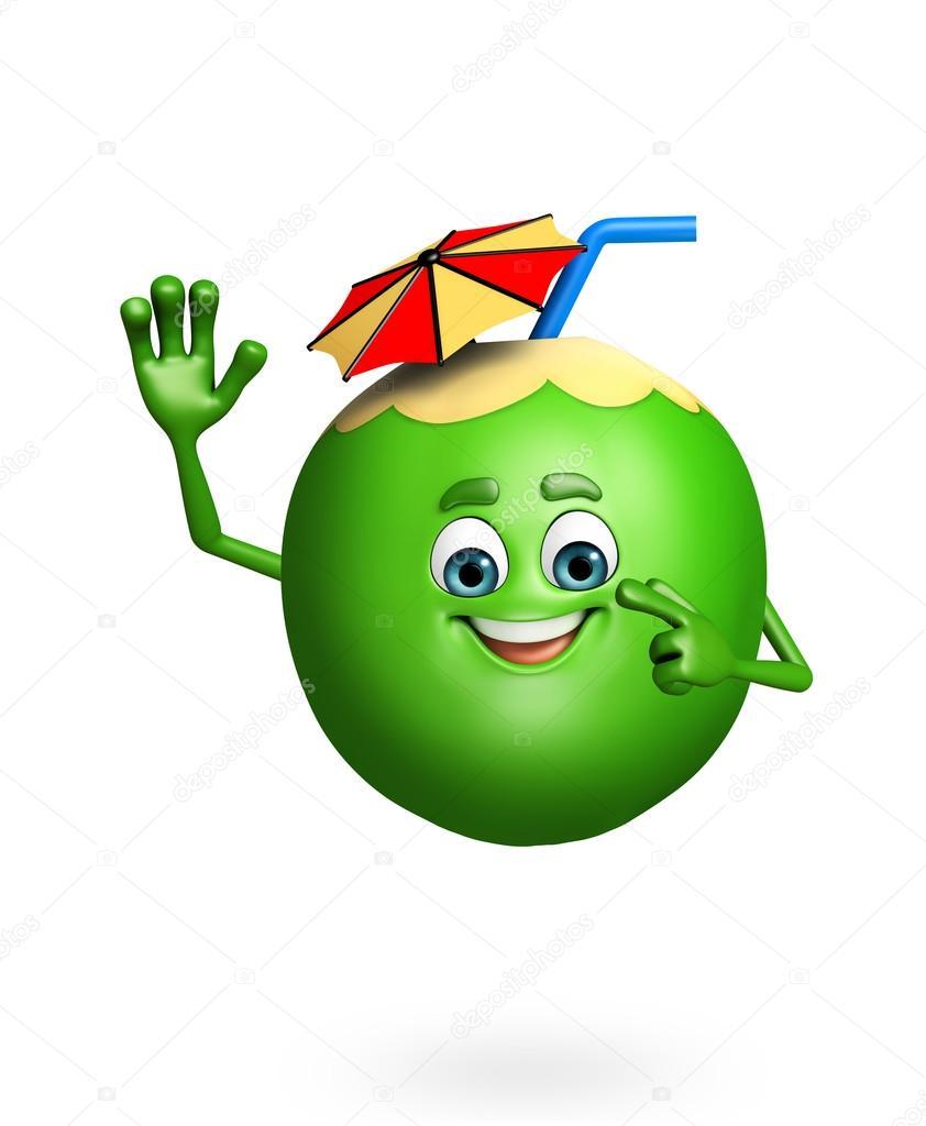 Personnage de dessin anim de fruits noix de coco - Dessin noix de coco ...
