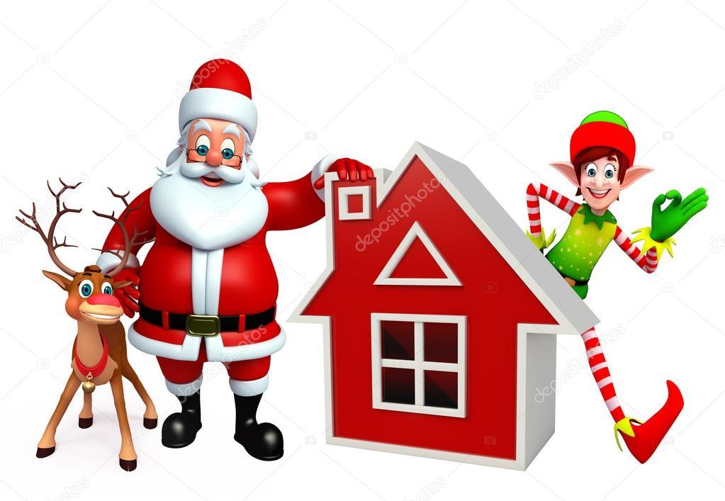 Dibujos Animados De Santa Claus Y Los Elfos Con Renos