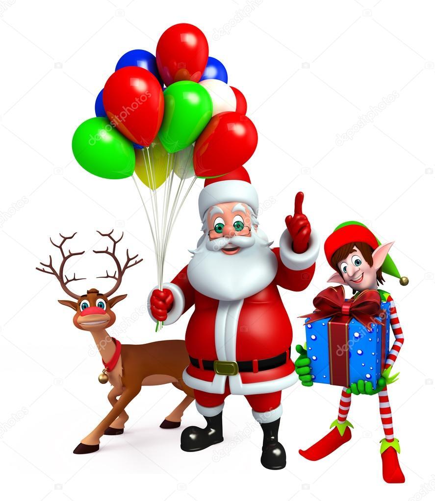 Babbo Natale E Gli Elfi.Babbo Natale E Gli Elfi Con La Renna Del Fumetto Foto Stock