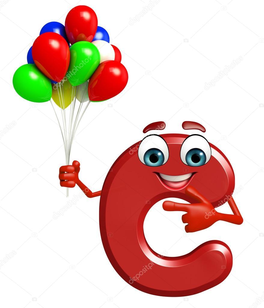 personagem de desenho animado do alfabeto c com balões fotografias